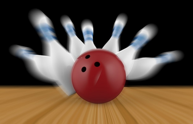 Birillo e palla da bowling sparsi sul pavimento di legno
