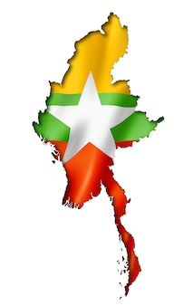 Birmania myanmar flag map
