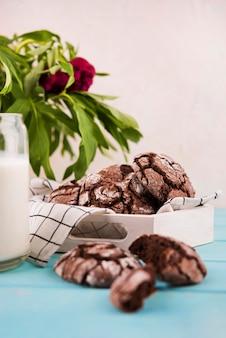 Biscotti al cioccolato deliziosi di vista frontale