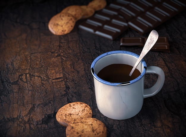 Biscotto al cioccolato e tazza di cioccolato