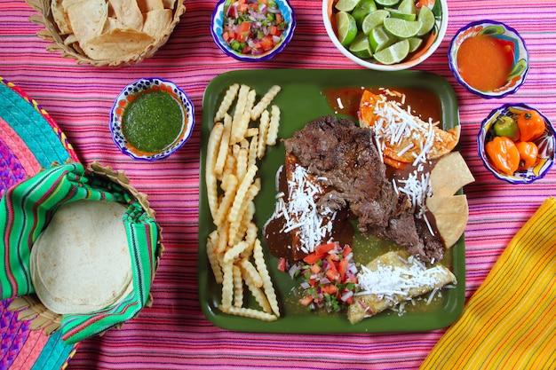 Bistecca di fianco di manzo arrachera salsa di peperoncino piatto messicano