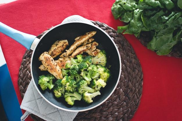 Bistecca di pollo con broccoli in padella