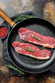 Bistecca di rampa cruda, carne fresca, carne di manzo marmorizzata.