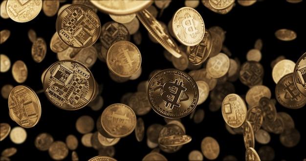 Bitcoin di monete d'oro che cadono