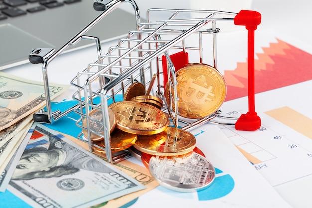 Bitcoin, grafico e dollaro usa. trading finanziario