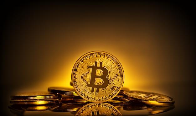 Bitcoin in piedi sullo sfondo di scattering di monete