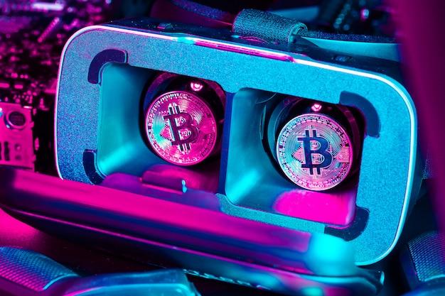 Bitcoin nel dispositivo di realtà virtuale vr