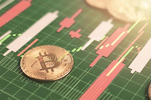 Bitcoin sul bordo verde con il grafico di candlestick fa da carta a colori, investimento