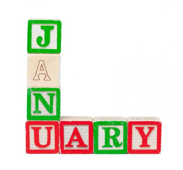 Blocchi alfabeto in legno con la parola gennaio