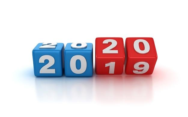 Blocchi di piastrelle cambiando dal 2019 al 2020 anni