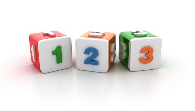 Blocchi di piastrelle con 123 numeri