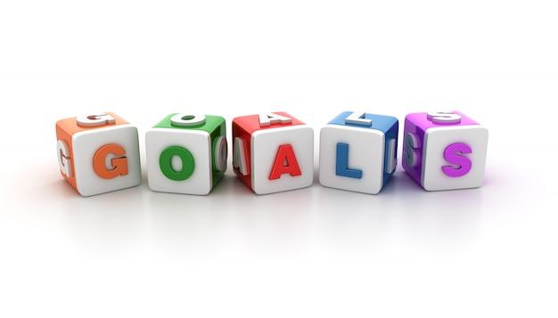 Blocchi di piastrelle con goals word
