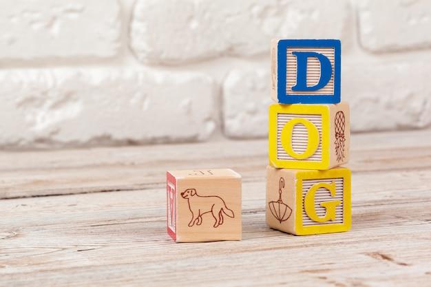 Blocchi giocattolo in legno con il testo: cane