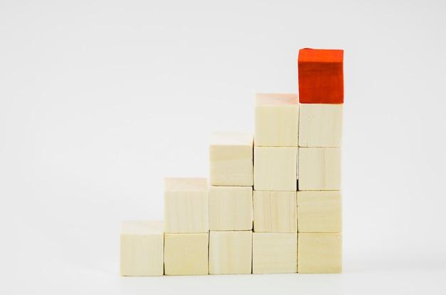 Blocchi rossi sopra il legno impilati su sfondo bianco