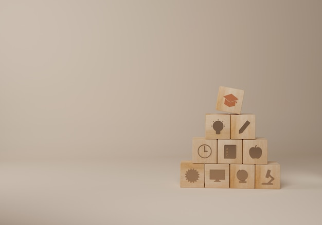 Blocco di legno di istruzione con copyspace beige