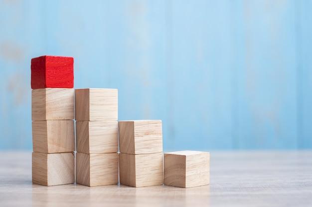 Blocco di legno rosso sull'edificio. pianificazione aziendale, gestione dei rischi