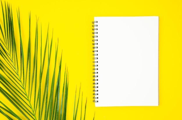 Blocco note a spirale con foglia di palma tropicale su sfondo giallo