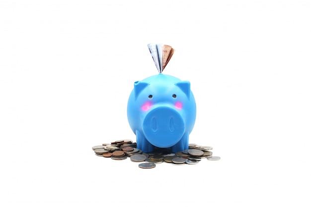 Blu del porcellino salvadanaio con i contanti dei soldi delle monete su un fondo bianco