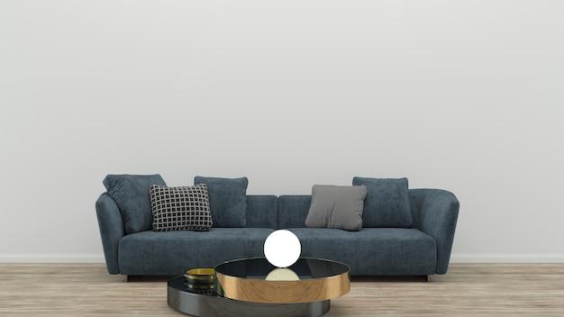 Blu in tessuto divano in legno tavolo piano in legno lampada soggiorno sfondo interno