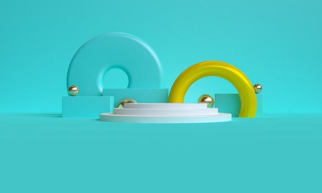 Blu minimalista primitivo sfondo geometrico astratto, elegante illustrazione alla moda podio, stand, vetrina su colori pastello per un prodotto premium. rendering 3d.
