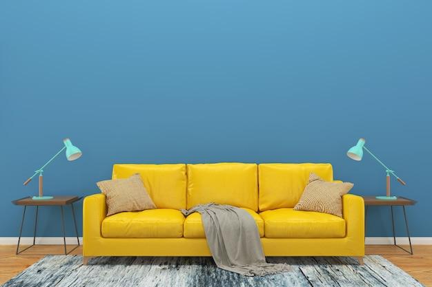 Blu muro giallo divano pavimento in legno sfondo texture lampada verde