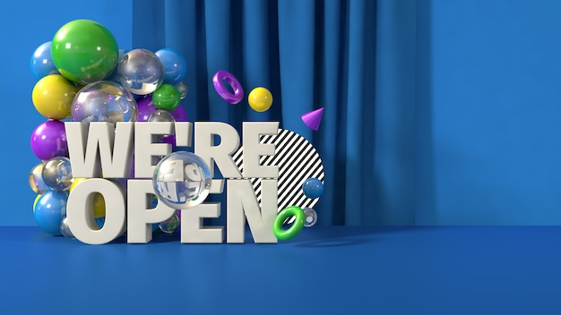 Blu siamo modello di banner aperto, rendering 3d