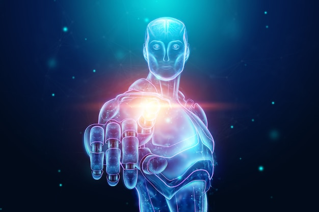 Blue hologram di un robot, cyborg, intelligenza artificiale. reti neurali di concetto, autopilota, robotizzazione, rivoluzione industriale 4.0. illustrazione 3d, rendering 3d.