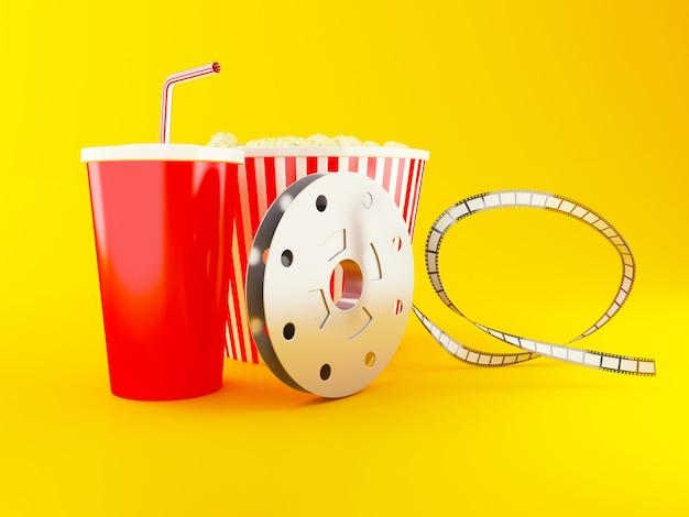 Bobina, popcorn e bevanda di film 3d.