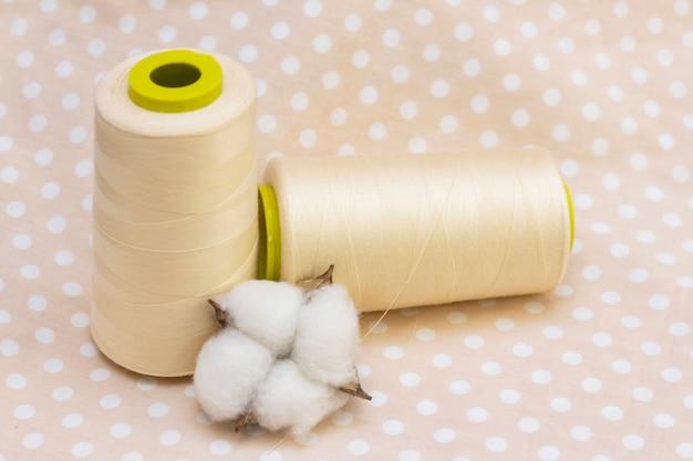 Bobine di cotone beige. cotone naturale su tessuto a pois beige. concetto di cotone, tessuto naturale