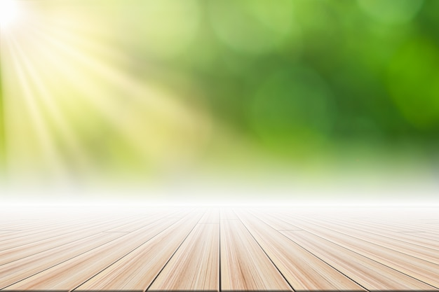 Bokeh verde del fondo di scena del pavimento di legno con la luce del sole