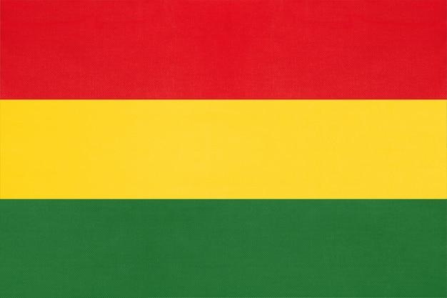 Bolivia bandiera nazionale tessuto sfondo tessile, simbolo del mondo sud america paese,