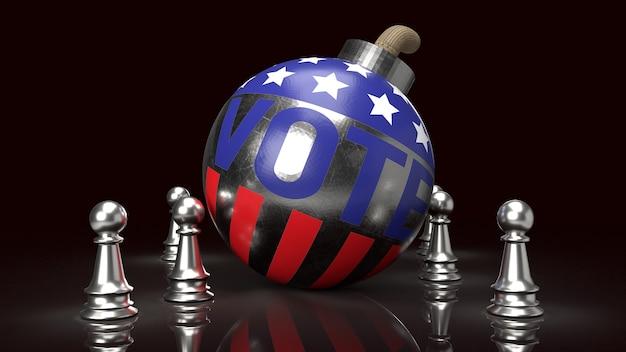 Bomba con voto di testo e rendering 3d bandiera americana
