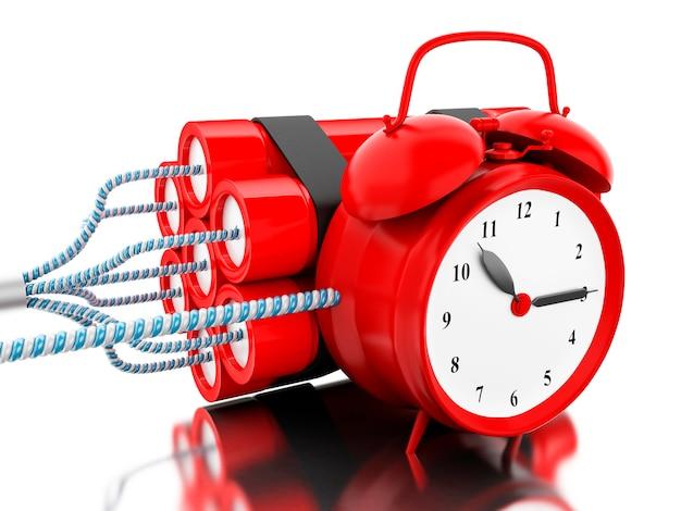Bomba della dinamite 3d con il temporizzatore dell'orologio