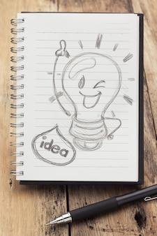 Book of idea sul tavolo di legno