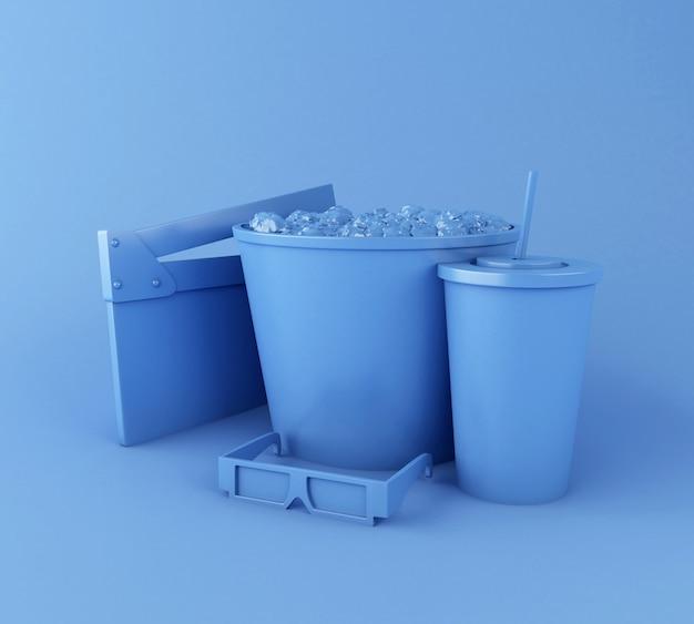 Bordo del ciak del cinema 3d, popcorn, bevanda e vetri 3d.