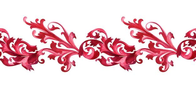 Bordo dell'acquerello con elementi stilizzati della pianta di acanto