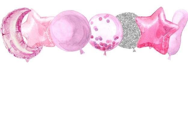 Bordo dell'acquerello del partito con palloncini stella stagnola