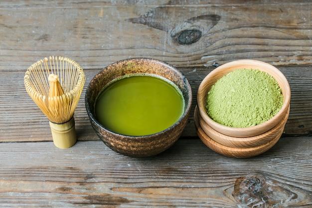 Bordo di una tazza di tè tè verde
