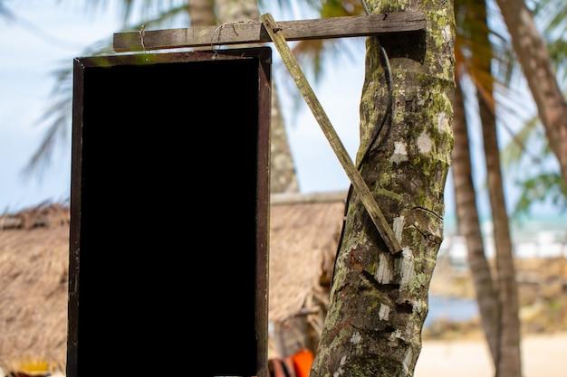 Bordo nero sugli alberi di cocco in spiaggia.