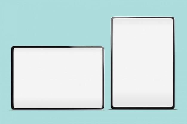 Bordo sottile astuto a schermo intero grande della compressa di digital derisione su fondo con lo spazio della copia e percorso di ritaglio sullo schermo in bianco