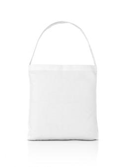 Borsa di spesa di acquisto della tela bianca in bianco isolata su bianco