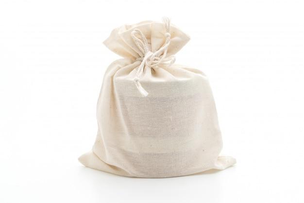 Borsa in tessuto bianco su bianco
