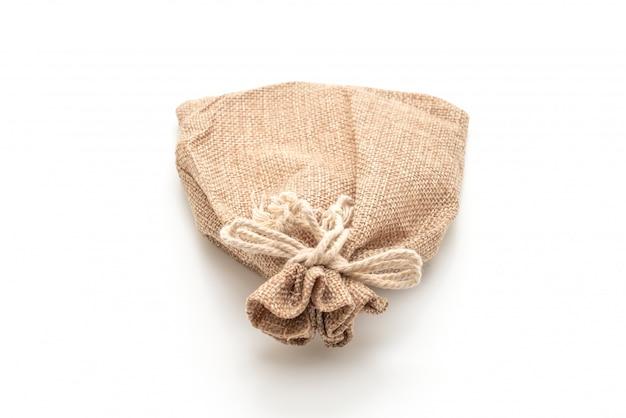 Borsa in tessuto sacco su bianco