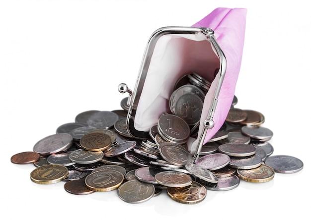 Borsa rosa e rublo monete