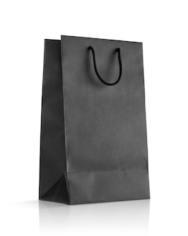 Borsa shopping in carta nera vuota per design mock-up