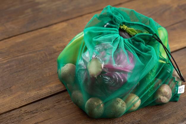 Borse a rete per verdure di alimenti sani