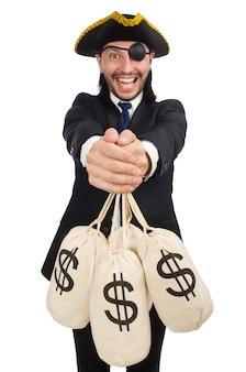 Borse dei soldi della tenuta dell'uomo d'affari del pirata isolate su bianco