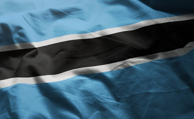 Botswana flag rumpled close up