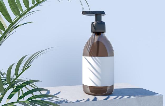 Bottiglia cosmetica su un podio di cemento con foglie di palma