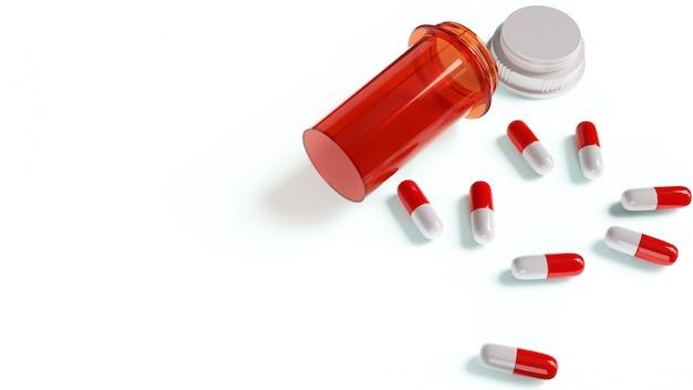 Bottiglia della medicina e capsula bianca rossa per contenuto medico